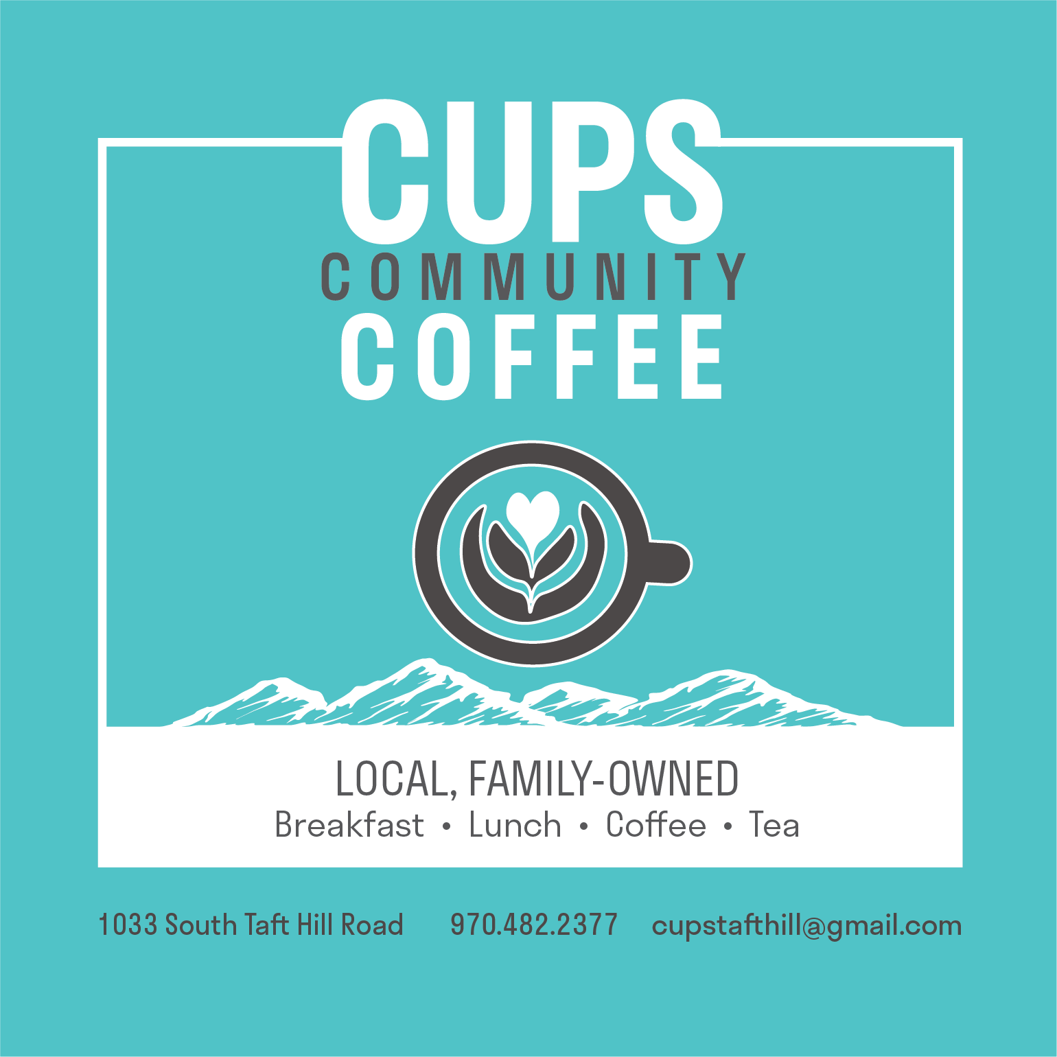 Cups Community Coffee container sticker