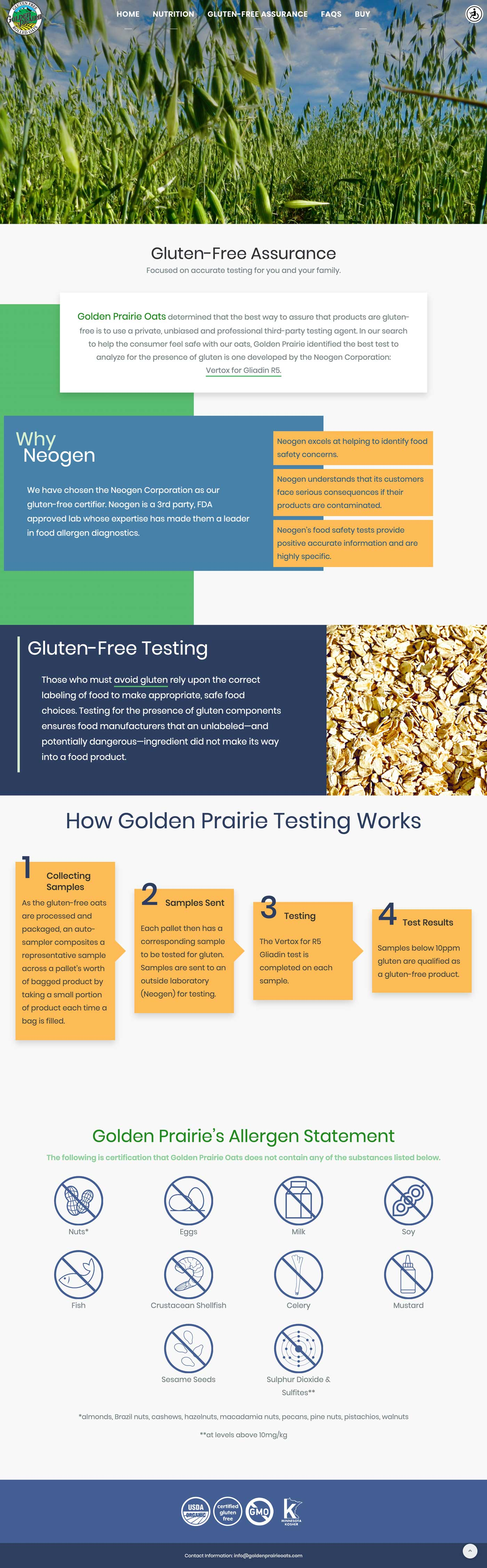 Golden Prairie Oats website page shot - gluten-free page