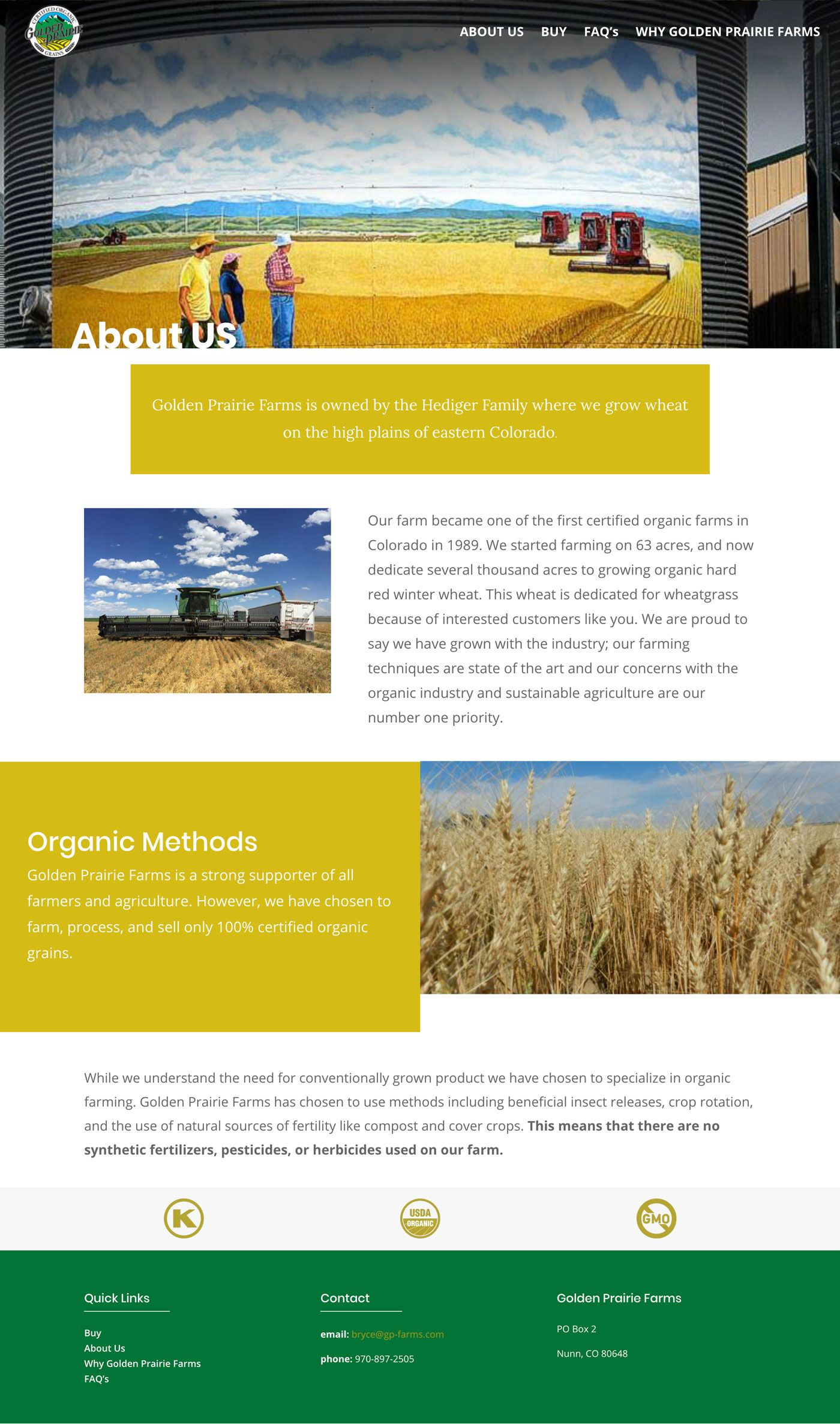 Golden Prairie Wheatgrass page shot - about page