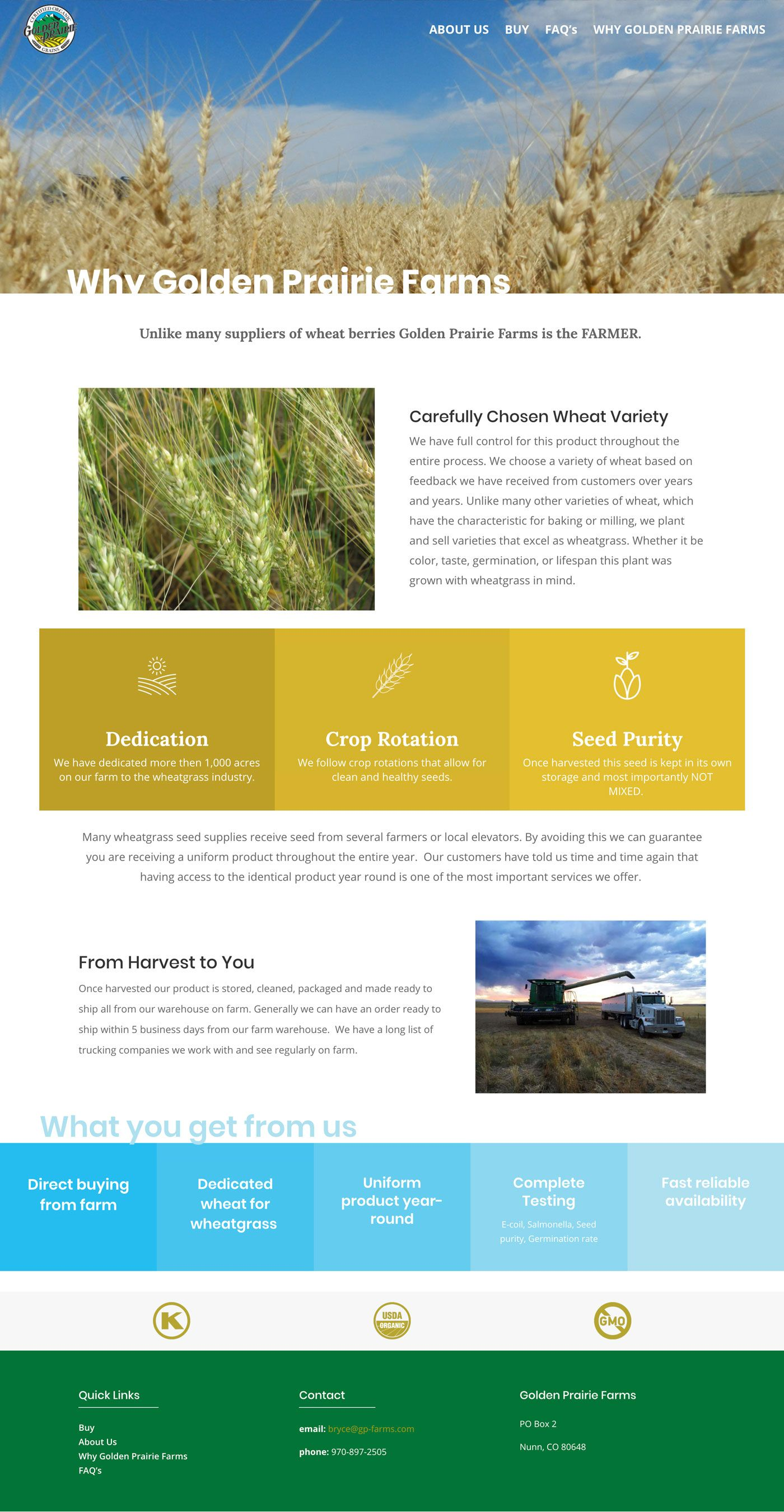 Golden Prairie Wheatgrass page shot - why us page